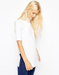 Asos Tunic With Side Splits And Polo Neck In Short Sleeves White