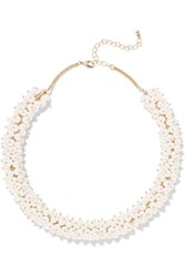 Kenneth Jay Lane Gold Tone And Faux Pearl Choker White