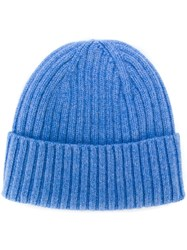 Dell'oglio Ribbed Knit Cashmere Hat Blue
