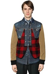 Dsquared Patchwork Plaid Denim And Leather Jacket