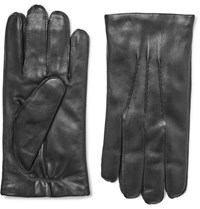 Ralph Lauren Purple Label Cashmere Lined Leather Gloves Black