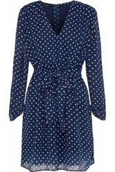 W118 By Walter Baker Flavia Tie Front Polka Dot Chiffon Mini Dress Indigo