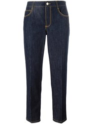 Ermanno Scervino Cropped Straight Leg Trousers Blue