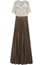 Catherine Deane Colette Metallic Lace And Pleated Jersey Gown Brown