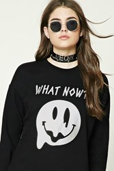 Forever 21 What Now Fleece Sweatshirt Black Silver