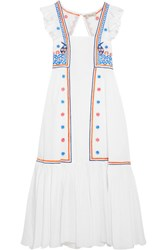 Temperley London Spellbound Embroidered Poplin And Swiss Dot Cotton Dress White