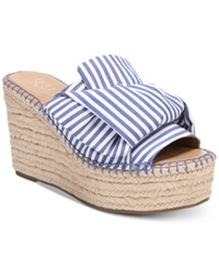 Franco Sarto Talinda 2 Platform Espadrille Wedge Sandals Women's Shoes White Blue Stripe