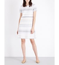 St John Patterned Metallic Shift Dress Bianco Multi