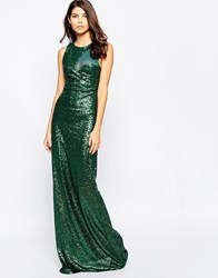 City Goddess Sequin Maxi Dress With Curved Mesh Insert Green