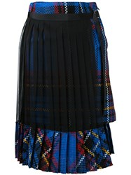 Sacai Pleated Tartan Skirt Women Cotton 3 Blue