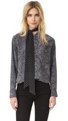 Equipment Kate Moss Daddy Blouse With Removable Neck Tie True Black