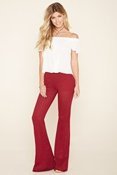 Forever 21 Perforated Zigzag Flare Pants