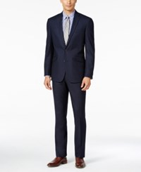Kenneth Cole Reaction Men's Slim Fit Tonal Dark Blue Shadow Check Suit With Finished Hem