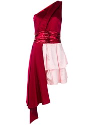 Christian Pellizzari Fitted Frilled Short Dress Red