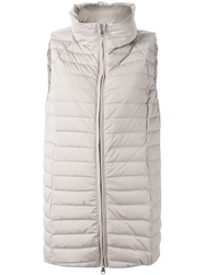 Eleventy Long Padded Gilet Nude And Neutrals