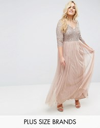 Lovedrobe Luxe 3 4 Sleeve V Neck Maxi Dress With Delicate Sequin And Tulle Skirt Mink Pink