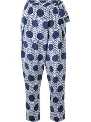 Mother Of Pearl Polka Dot Print Trousers Blue