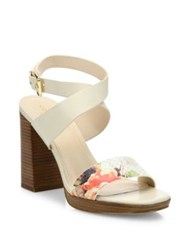 Cole Haan Fenley Leather Ankle Wrap Block Heel Sandals White Multi