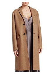 Christian Dior Single Breasted Camel Wool Coat