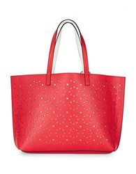 Echo Reversible Cutout Leather Tote Punch Pink