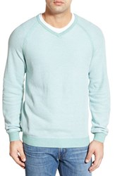Men's Big And Tall Tommy Bahama 'Make Mine A Double V Neck' Raglan Pullover Pale Capri