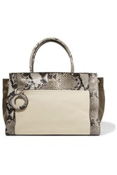 Just Cavalli Snake Effect And Smooth Leather Tote Cream
