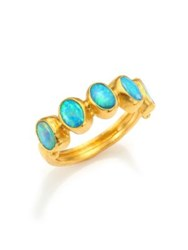 Gurhan Amulet Hue Blue Opal And 24K Yellow Gold Ring Gold Opal