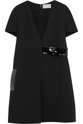 Christopher Kane Patent Leather Trimmed Crepe Dress