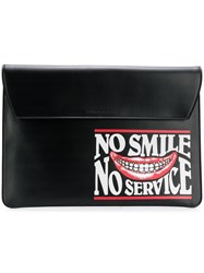 Stella Mccartney No Smile No Service Envelope Clutch Black