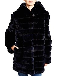 Maximilian Grooved Rabbit Coat With Hood Bloomingdale's Exclusive
