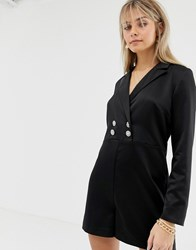 Reclaimed Vintage Inspired Tux Playsuit With Button Detail Black