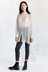Silence And Noise Monique Mesh High Low Maxi Shirt White