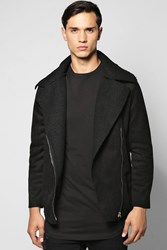 Boohoo Lined Aviator Jacket With Buckle Detail Black
