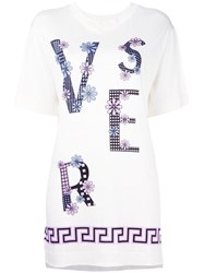 Versace Scattered Logo T Shirt Nude Neutrals