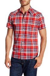 Lucky Brand Short Sleeve Plaid Classic Fit Shirt Red