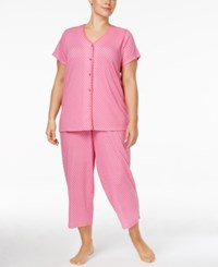 Charter Club Plus Size Loop Trimmed Top And Cropped Pants Printed Pajama Set Only At Macy's Daisy Rows