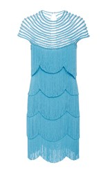 Naeem Khan Short Sleeve Flapper Fringe Mini Dress Light Blue