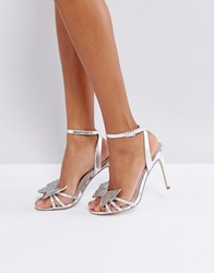 Faith Solo Filly Butterfly Heeled Sandals Silver