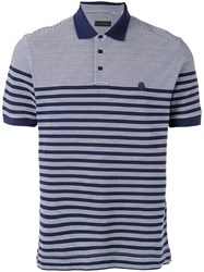 Z Zegna Striped Polo Shirt Men Cotton Xl Blue