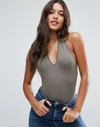 Asos Body With Halter Neck Khaki Green
