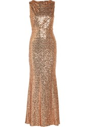 Badgley Mischka Draped Sequined Tulle Gown Blush