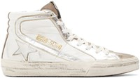 Golden Goose White And Silver Slide High Top Sneakers