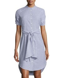 Neiman Marcus Striped Seersucker Tie Waist Shirtdress Blue White