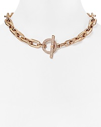 Michael Kors Chain Link Pave Toggle Necklace 18