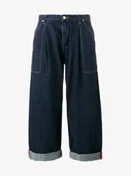 House Of Holland High Waisted Oversized Jeans Blue Red Denim Bright Red