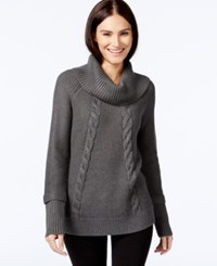 Calvin Klein Cowl Neck Cable Knit Sweater Heather Charcoal