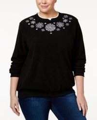 Alfred Dunner Plus Size Snowflake Holiday Sweater Black