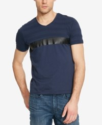 Kenneth Cole Reaction Men's Faux Leather Stripe V Neck T Shirt Indigo