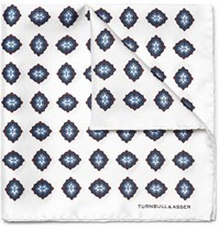 Turnbull And Asser Printed Silk Twill Pocket Square White
