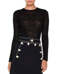 Stella Mccartney Long Sleeve Baroque Lace Top Navy